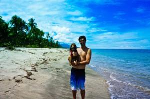 Alaska and Ben at the Caribbean coast Colombia