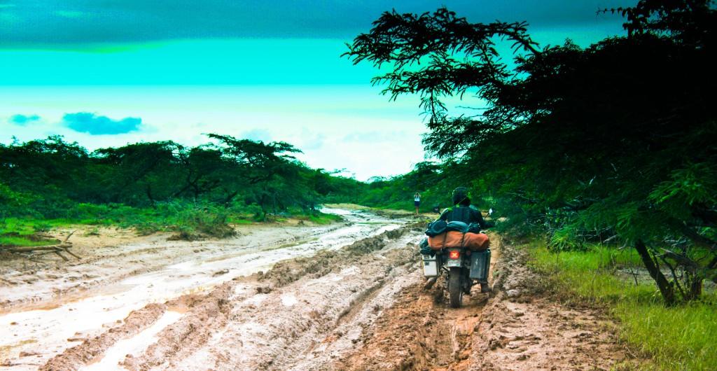 Duncan picking his path carefully through the slick mud