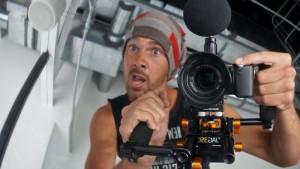 Learning camera skills at the YouTube studios, LA