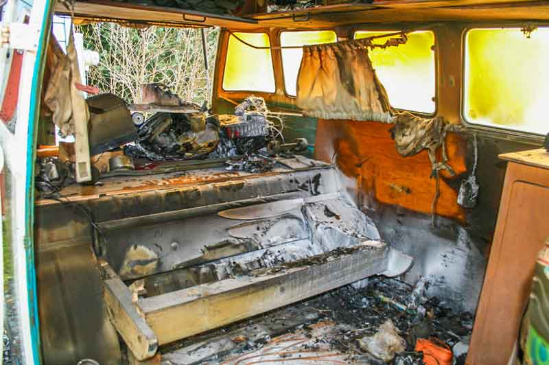 burnt out VW Bus Fire