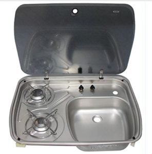 camper stove top and sink with glass lid