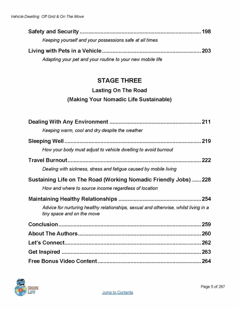 Van dwelling ebook guide to nomadic living off grid on the move vehicle dwelling guide contents 3 fandeluxe Gallery
